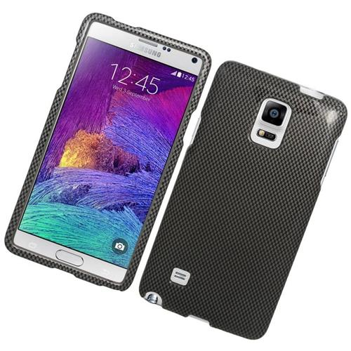 Insten Carbon Fiber Rubberized Hard Snap-in Case For Samsung Galaxy Note 4, Gray/Black