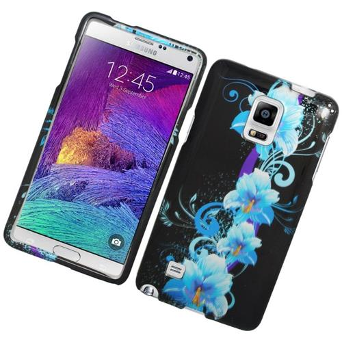 Insten Flowers Rubberized Hard Snap-in Case Cover Compatible With Samsung Galaxy Note 4, Blue/Black