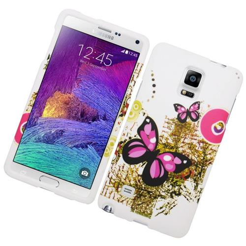 Insten Butterfly Rubberized Hard Snap-in Case For Samsung Galaxy Note 4, White/Pink