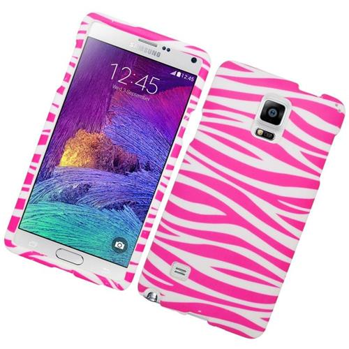 Insten Zebra Rubberized Hard Snap-in Case Cover Compatible With Samsung Galaxy Note 4, Pink/White