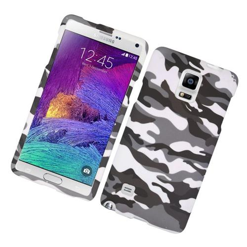 Insten Camouflage Rubberized Hard Snap-in Case For Samsung Galaxy Note 4, Gray/White