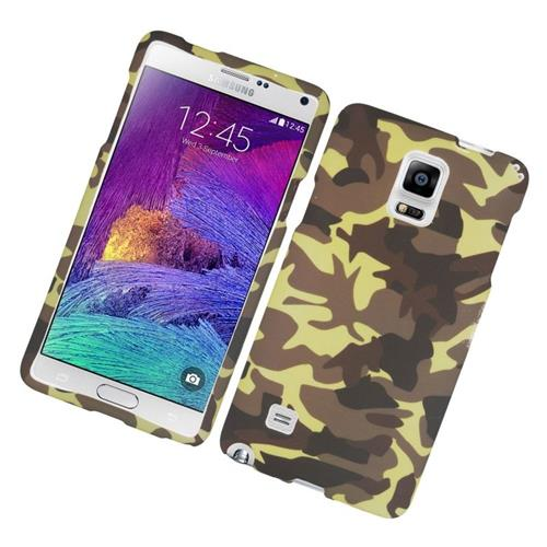 Insten Camouflage Rubberized Hard Snap-in Case Cover Compatible With Samsung Galaxy Note 4, Brown