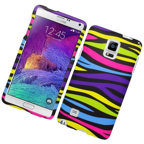 Insten Zebra Rubberized Hard Snap-in Case Cover Compatible With Samsung Galaxy Note 4, Colorful