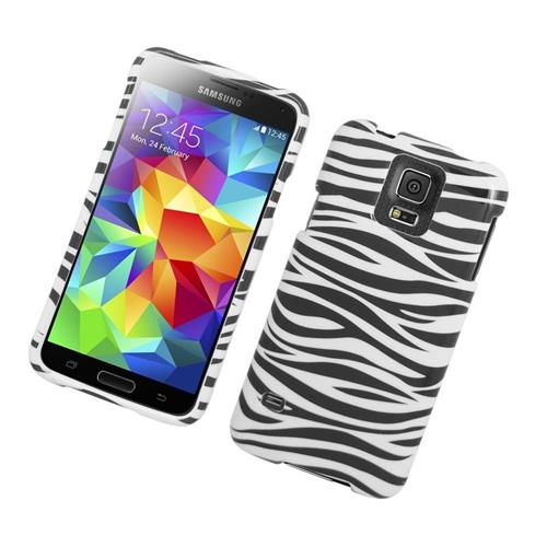 Insten Zebra Rubberized Hard Snap-in Case For Samsung Galaxy S5 SM-G900, Black/White