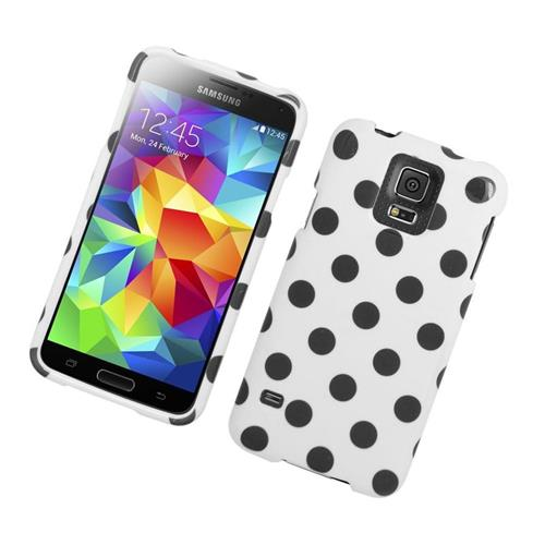 Insten Polka Dots Rubberized Hard Snap-in Case For Samsung Galaxy S5 SM-G900, White/Black