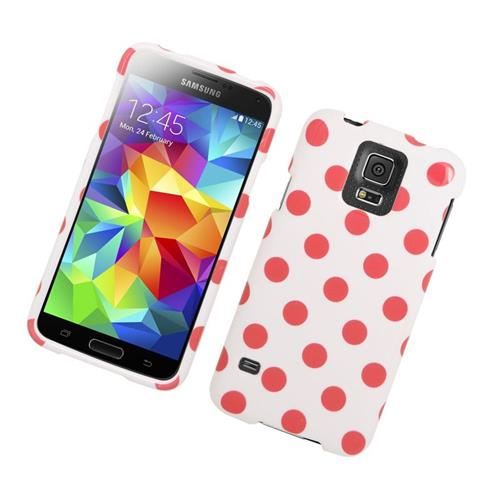 Insten Polka Dots Rubberized Hard Snap-in Case For Samsung Galaxy S5 SM-G900, White/Pink
