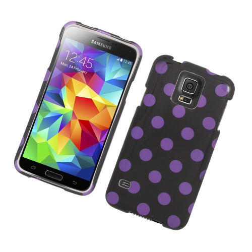 Insten Polka Dots Rubberized Hard Snap-in Case For Samsung Galaxy S5 SM-G900, Black/Purple