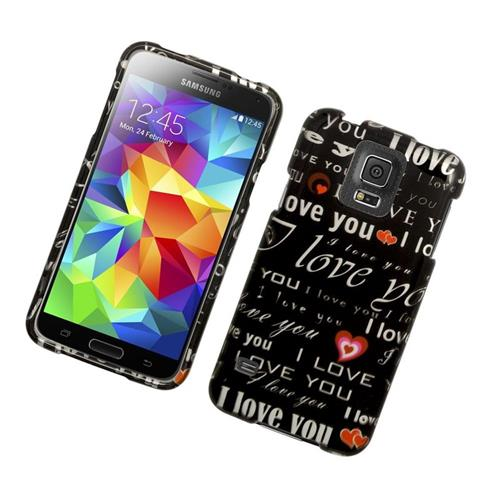 Insten Love You Rubberized Hard Snap-in Case For Samsung Galaxy S5 SM-G900, Black/White