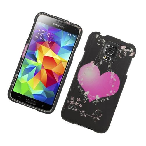 Insten Hearts Rubberized Hard Snap-in Case For Samsung Galaxy S5 SM-G900, Black/Pink