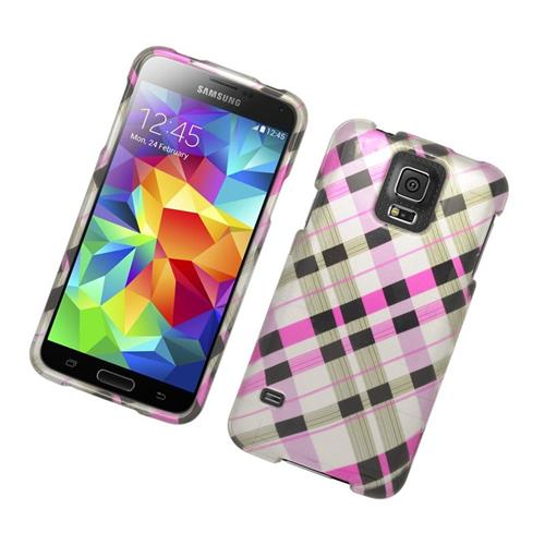 Insten Checker Rubberized Hard Snap-in Case For Samsung Galaxy S5 SM-G900, Brown/Pink