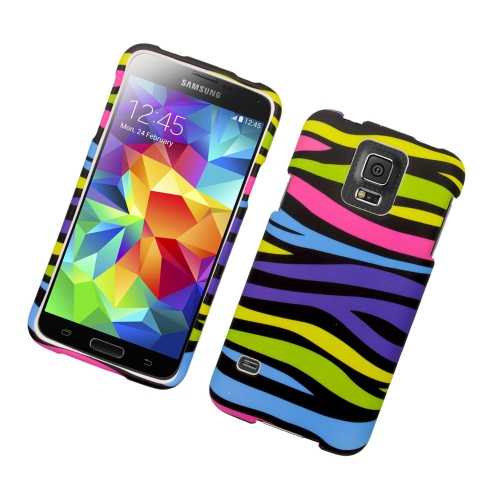 Insten Zebra Rubberized Hard Snap-in Case Cover Compatible With Samsung Galaxy S5 SM-G900, Colorful