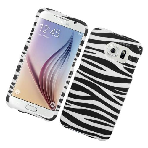 Insten Zebra Rubberized Hard Snap-in Case For Samsung Galaxy S6 SM-G920, Black/White