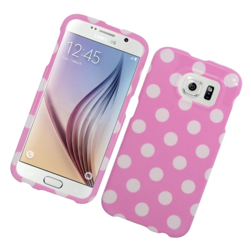 Insten Fitted Hard Shell Case for Samsung Galaxy S6 - White; Pink