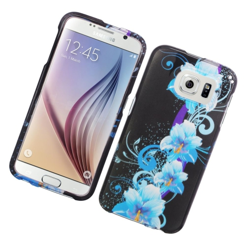 Insten Flowers Rubberized Hard Snap-in Case For Samsung Galaxy S6 SM-G920, Blue/Black