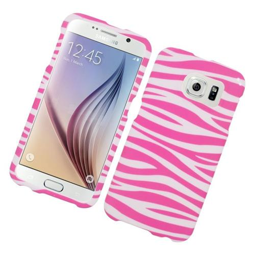 Insten Zebra Rubberized Hard Snap-in Case For Samsung Galaxy S6 SM-G920, Pink/White