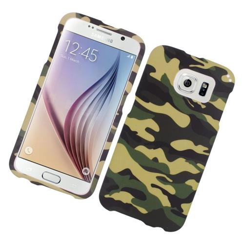 Insten Camouflage Rubberized Hard Snap-in Case For Samsung Galaxy S6 SM-G920, Green/Black