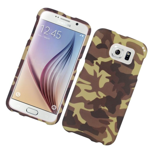 Insten Camouflage Rubberized Hard Snap-in Case For Samsung Galaxy S6 SM-G920, Brown