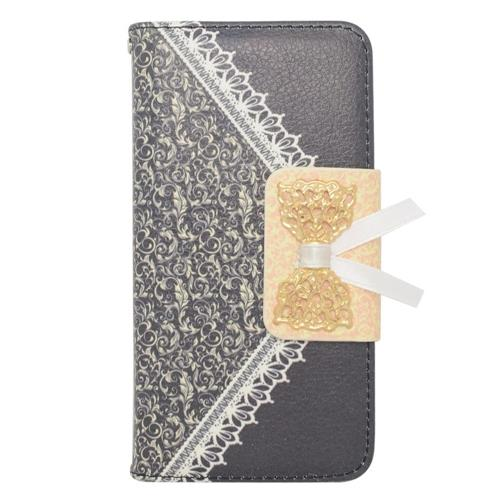 Insten Flip Leather Fabric Cover Case w/stand/card holder For Samsung Galaxy Alpha, Black/Gold