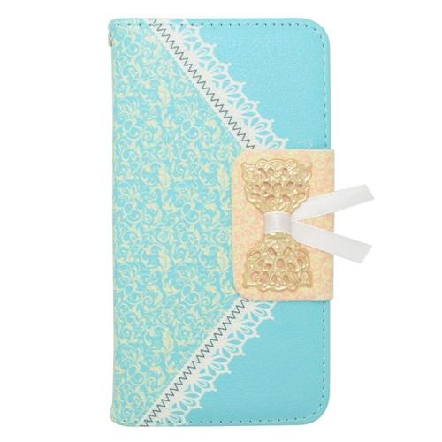 Insten Flip Leather Fabric Cover Case w/stand/card slot For Samsung Galaxy Alpha, Light Blue/Gold
