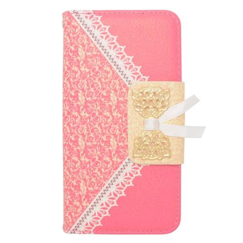 Insten Folio Leather Fabric Case w/stand/card holder For Samsung Galaxy Alpha, Hot Pink/Gold