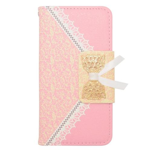 Insten Book-Style Leather Fabric Case w/stand/card slot For Samsung Galaxy Alpha, Pink/Gold