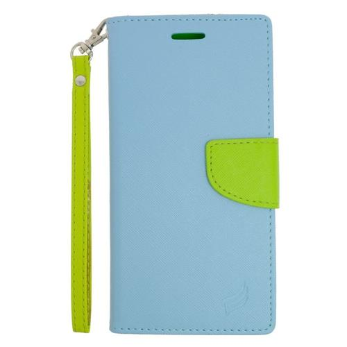 Insten Folio Leather Case Lanyard w/stand/card slot For Samsung Galaxy S6 Active, Light Blue/Green