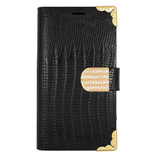 Insten Folio Leather Fabric Cover Case w/card slot/Diamond For Samsung Galaxy S6 Edge, Black/Gold