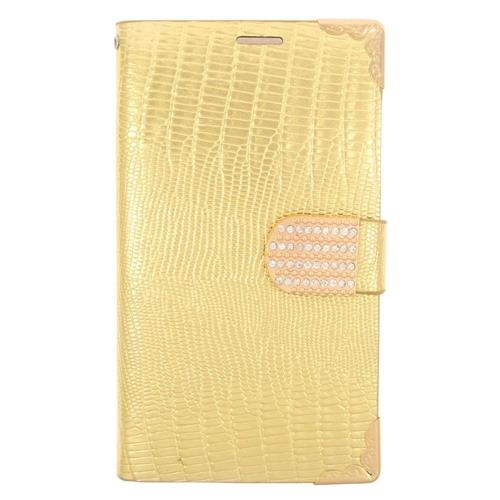 Insten Flip Leather Fabric Case w/card holder/Diamond For Samsung Galaxy S6 Edge, Gold