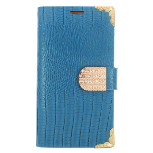 Insten Leather Fabric Case w/card slot/Diamond For Samsung Galaxy S6 Edge, Light Blue/Gold