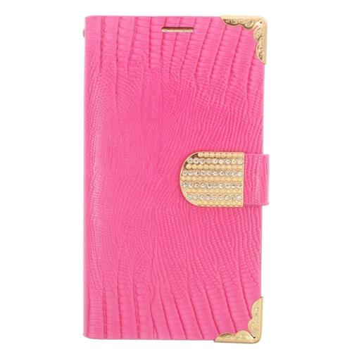 Insten Book-Style Leather Fabric Case w/card holder/Diamond For Samsung Galaxy S6 Edge, Pink/Gold