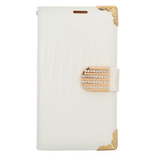 Insten Folio Case for Samsung Galaxy S6 Edge - White;Gold
