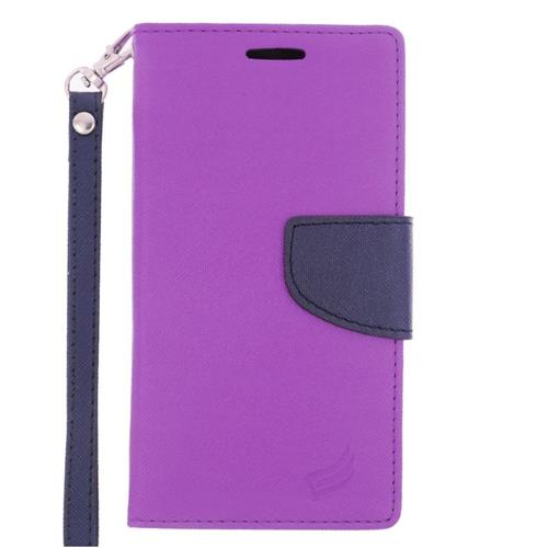Insten Flip Leather Fabric Case Lanyard w/stand/card slot For Samsung Galaxy S6 Edge, Purple/Blue