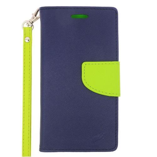 Insten Folio Leather Case Lanyard w/stand/card slot For Samsung Galaxy S6 Edge, Dark Blue/Green