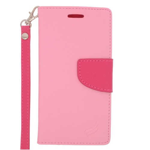 Insten Leather Fabric Case Lanyard w/stand/card holder For Samsung Galaxy S6 Edge, Pink/Hot Pink