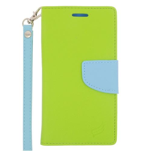 Insten Folio Leather Case Lanyard w/stand/card holder For Samsung Galaxy S6 Edge, Green/Light Blue