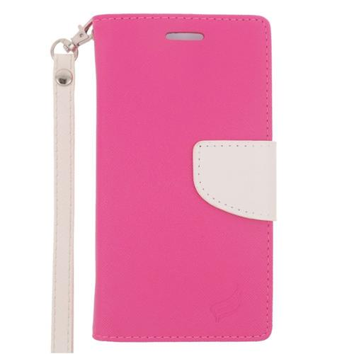 Insten Folio Leather Fabric Case Lanyard w/stand/card holder For Samsung Galaxy S6 Edge, Pink/White