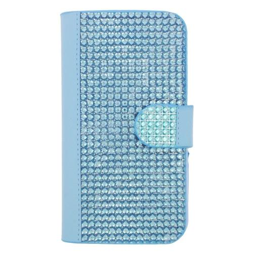 Insten Book-Style Leather Diamante Cover Case w/card slot For Samsung Galaxy S6 Edge, Light Blue