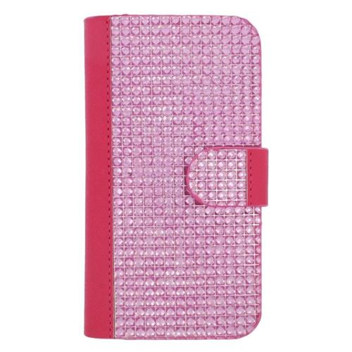 Insten Folio Leather Rhinestone Case w/card holder For Samsung Galaxy S6 Edge, Hot Pink