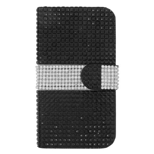 Insten Flip Leather Rhinestone Cover Case w/card slot For Samsung Galaxy S6 Edge, Black/Silver