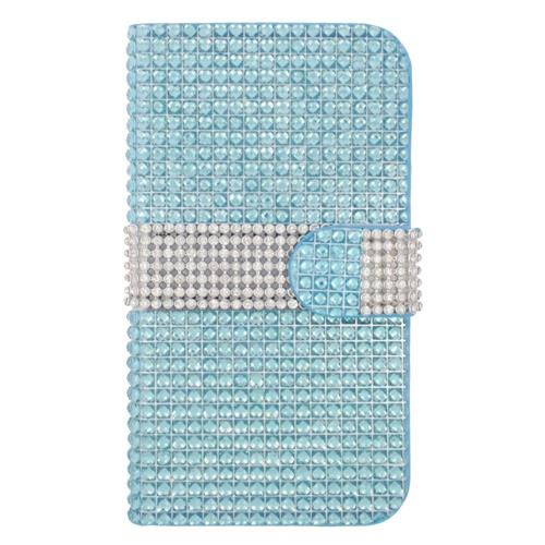 Insten Book-Style Leather Diamond Case w/card holder For Samsung Galaxy S6 Edge, Light Blue/Silver
