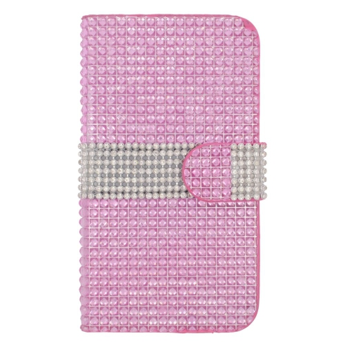 Insten Flip Leather Diamond Case w/card slot For Samsung Galaxy S6 Edge, Hot Pink/Silver