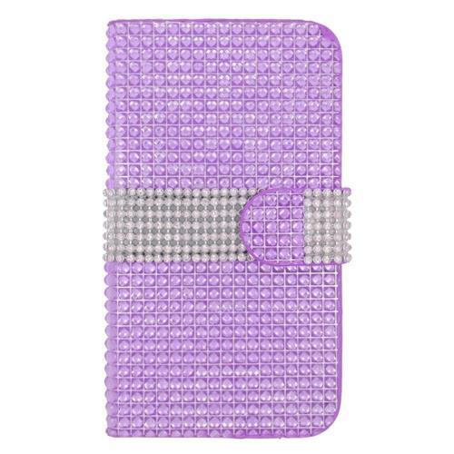 Insten Folio Leather Bling Case w/card slot For Samsung Galaxy S6 Edge, Purple/Silver