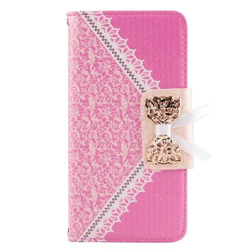 Insten Folio Leather Fabric Cover Case w/stand/card holder For Samsung Galaxy S6 Edge, Pink/Gold