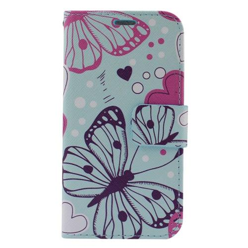 Insten Butterfly Flip Leather Case w/stand/card slot For Samsung Galaxy S6 Edge, Colorful