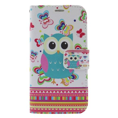Insten Owl Leather Fabric Case w/stand/card slot/Photo Display For Samsung Galaxy S6 Edge, Colorful