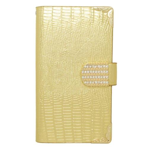 Insten Book-Style Leather Fabric Case w/card slot/Diamond For Samsung Galaxy S6 Edge Plus, Gold
