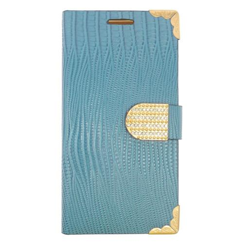 Insten Folio Leather Case w/card holder/Diamond For Samsung Galaxy S6 Edge Plus, Light Blue/Gold