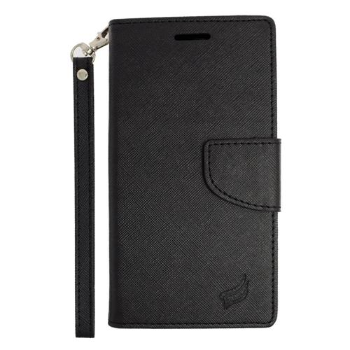 Insten Flip Leather Fabric Case Lanyard w/stand/card slot For Samsung Galaxy S6 Edge Plus, Black