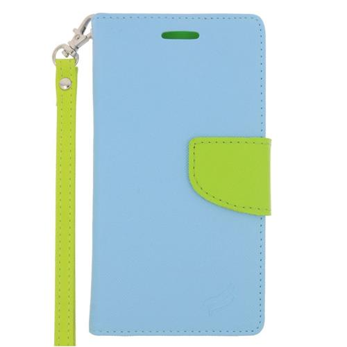 Insten Folio Leather Case Lanyard w/stand/card holder For Samsung Galaxy S6, Light Blue/Green