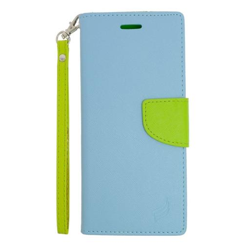 Insten Flip Leather Case Lanyard w/stand/card holder For Samsung Galaxy Note 5, Light Blue/Green